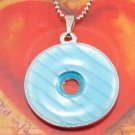 SN179 Elegant Blue Round Enamel Epoxy Fashion Silver Pendant Necklace Best Gift Idea