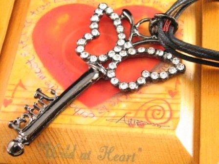 SN332  Crystal Butterfly Key Pendant Necklace Best Gift Idea