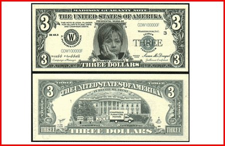 AR108 Hillary Three Dollar Bill