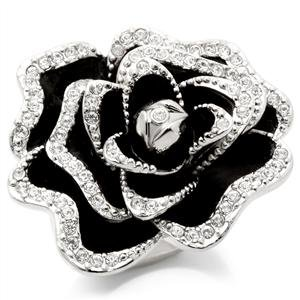 Rhodium Plated Black & Crystal Rose Ring