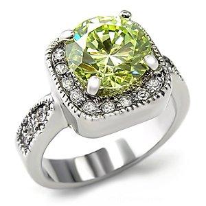 Rhodium Plated Apple Green Cubic Zirconia Ring, 4.7ct.
