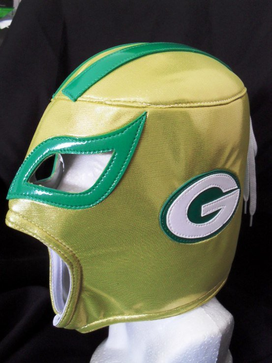 NFL UNOFFICIAL GREEN BAY STYLE MASK PRO FIT MEXICAN WRESTLING MASK LUCHA LIBRE HALLOWEEN