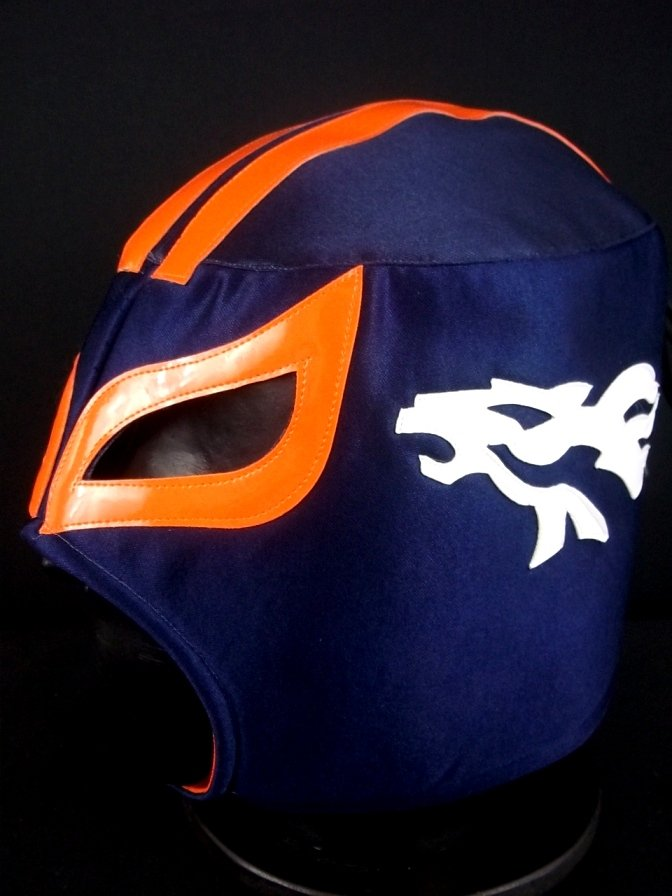 NFL UNOFFICIAL BRONCOS DENVER STYLE MASK PRO FIT MEXICAN WRESTLING MASK LUCHA  LIBRE HALLOWEEN 2bb40bb81