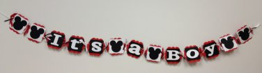 Paper Therapy Baby Shower Banner-Mickey Mouse