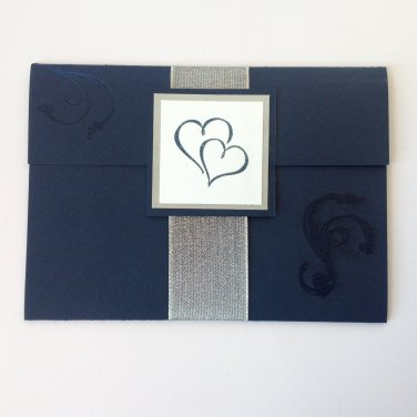 Paper Therapy | Heat Embossed | Pocket Fold | Invitation w/ribbon