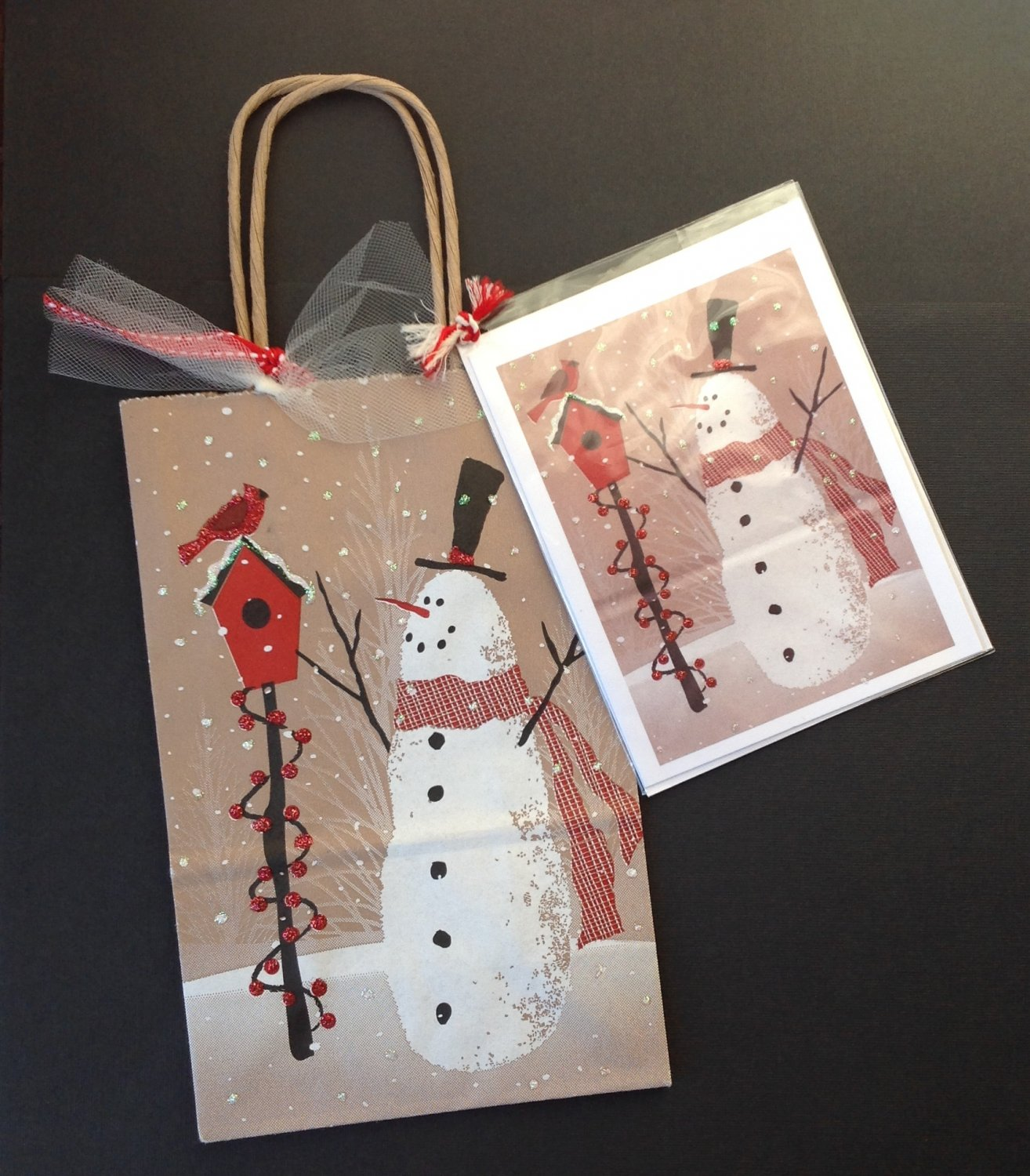 Christmas gift bag w greeting card snowman design paper