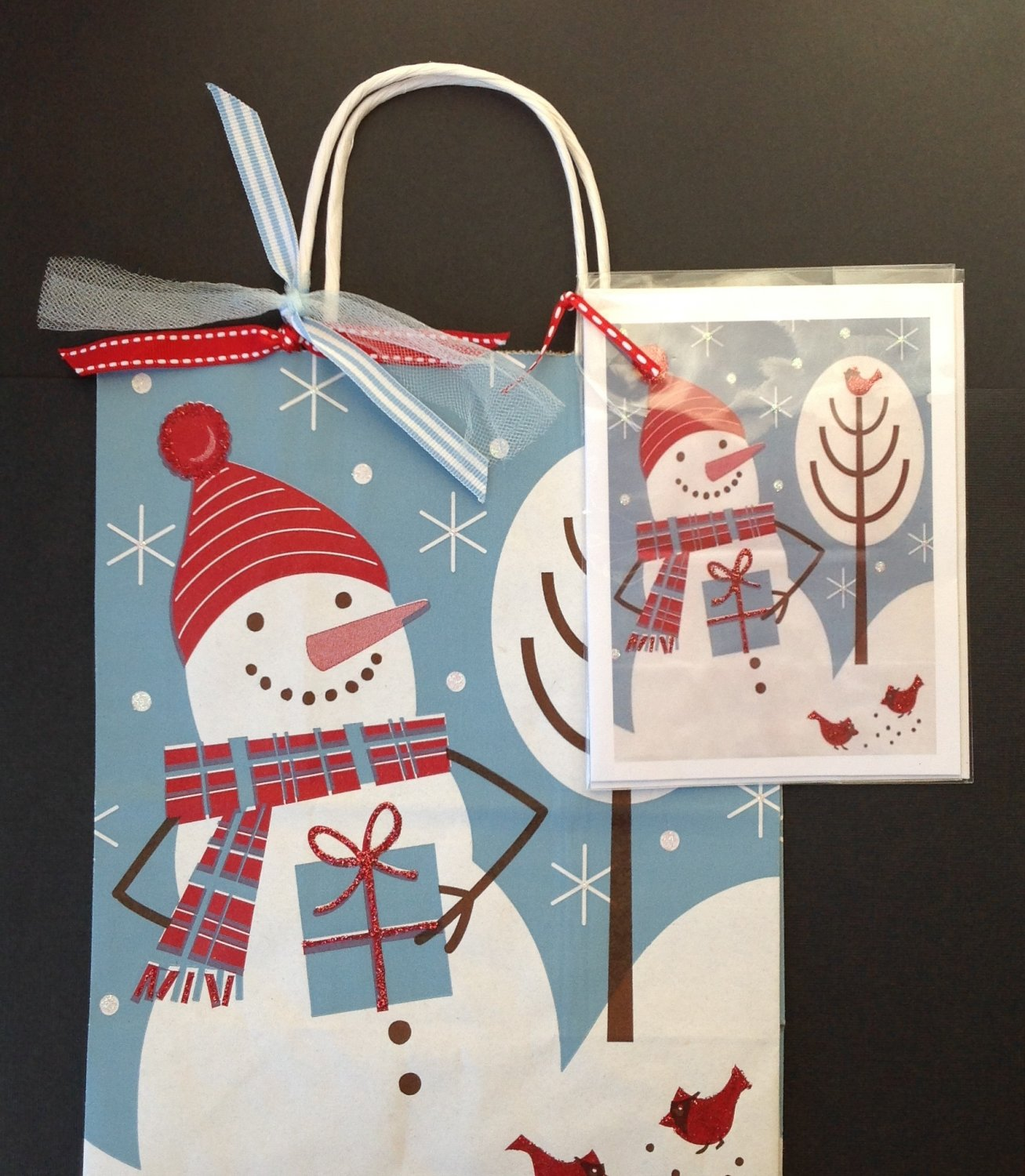 Christmas gift bag w greeting card minorah snowman paper