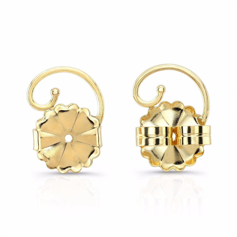 Levears 14K Yellow Gold Pierced Ear Lobe Earrings backs Lift Support Post / Stud