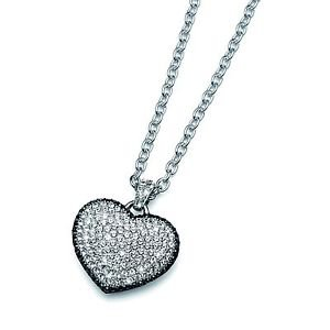 Silver Heart Pendant Chain Necklace Clear & Black Swarovski Crystals Oliver 9172