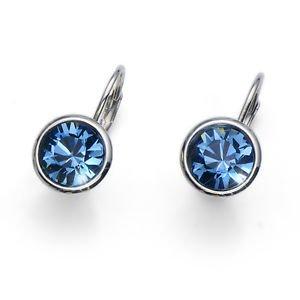 Fun Simple Silver Bezel Blue Denim Swarovski Crystal Earrings Oliver Weber
