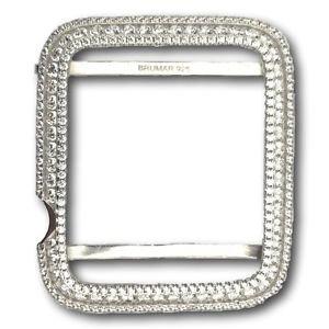 Mens Ladies Apple Watch Bezel Case Rhodium Plated Silver 925 Lab Diamonds 42mm