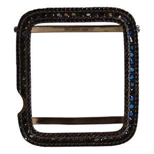 Mens Ladies Apple Watch Bezel Case Insert Black Plated 925 Lab Diamonds 42mm
