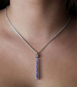 Purple Tanzanite Swarovski Element Crystals Glass Pendant Silver Chain Necklace