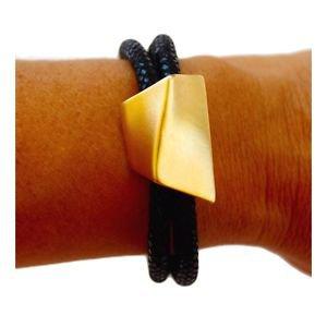 ZZAN USA 24K Yellow Gold Plated Black Leather Cuff Bangle Bracelet
