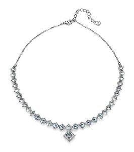 Graceful Silver Collar Necklace White Clear Swarovski Crystals Oliver Weber 9431
