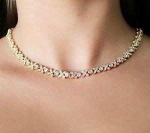 Yellow Gold Flower Collar Necklace Clear Swarovski Element Crystals Oliver Weber