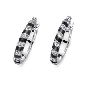 Variant Black Enamel & Silver Medium Hoop Earrings Clear Swarovski Crystals