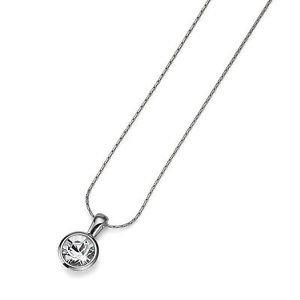Silver Chain Necklace White Clear Swarovski Crystal Bezel Pendant Oliver Weber
