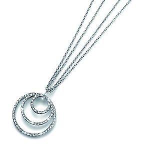 Silver Orbit Pendant Chain Necklace White Clear Swarovski Crystals Oliver Weber