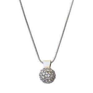 Silver Ball Pendant Chain Necklace Clear Swarovski Crystals Oliver Weber 11023