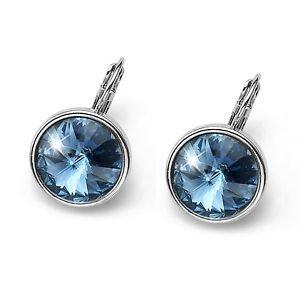 Fun Silver Bezel Blue Denim Swarovski Crystal Pierced Earrings Oliver Weber