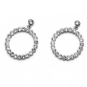 Circular Dangle Pierced Drop Earrings White Swarovski Crystals Oliver Weber