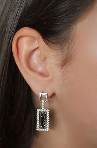 Silver Drop Dangle Earrings Bronze Swarovski Elements Rectangular Oliver Weber