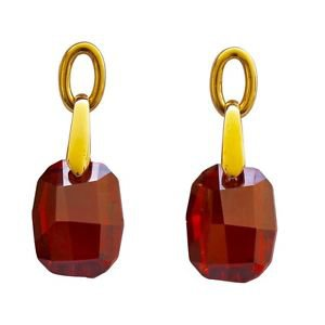"Yellow Gold Red Swarovski Crystals Drop Earrings ""Touch"" Oliver Weber 22028"