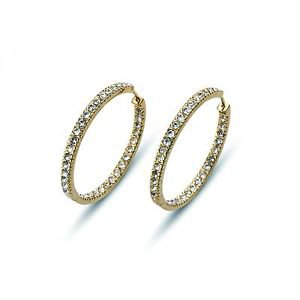 XL Hoop Yellow Gold Plated White Clear Swarovski Crystals Earrings Oliver Weber