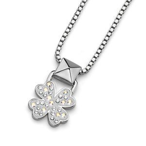Silver White Lucky Clover Pendant Chain Necklace Swarovski Elements Oliver Weber