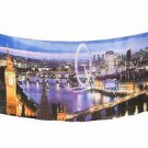 Shawlux England Eye of London Big Ben Blue Purple Gold Print Scarf Shawl Wrap