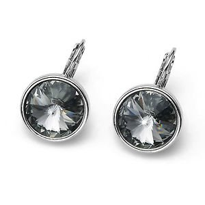 Fun Large Round Silver Bezel Satin Jet Black Swarovski Crystals Pierced Earrings