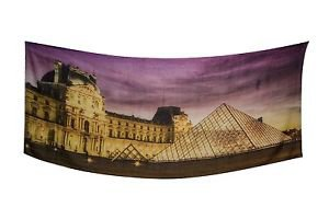 Shawlux Paris Louvre Love Print Scarf Wrap Shawl Gold & Purple