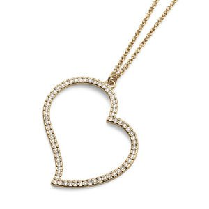 Yellow Gold Heart Pendant Chain Necklace Clear Swarovski Crystals Oliver Weber