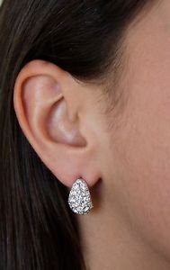 Pierced Drops Stud Earrings Clear White Swarovski Crystals Oliver Weber Zoom