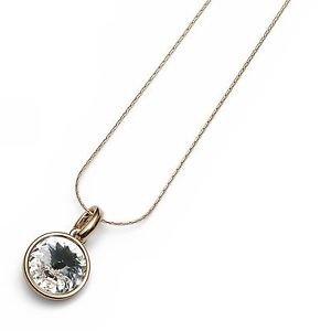 18K Yellow Gold Plated Necklace Clear Swarovski Crystal Bezel Oliver Weber