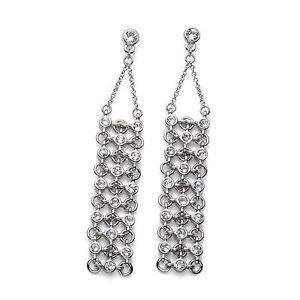 Hollywood Silver Drop Dangle Earrings White Swarovski Crystals Oliver Weber 9896