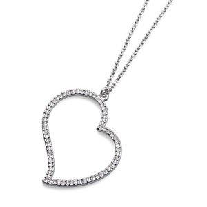 Clear Swarovski Elements Large Heart Pendant Silver Chain Necklace Oliver Weber