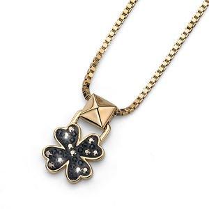 Black Gold Lucky Clover Pendant Chain Necklace Swarovski Elements Oliver Weber