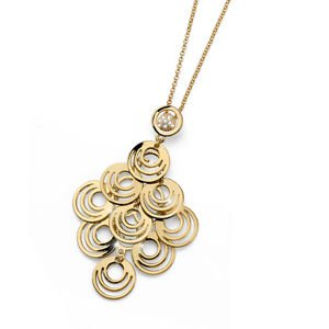 Yellow Gold Plat Circles Pendant Chain Necklace Swarovski Elements Oliver Weber