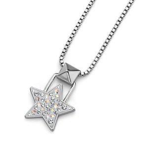 White Silver Lucky Star Chain Pendant Necklace Swarovski Elements Oliver Weber