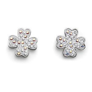 Silver & White Lucky Clover Swarovski Crystal Post Earrings Oliver Weber 22414R