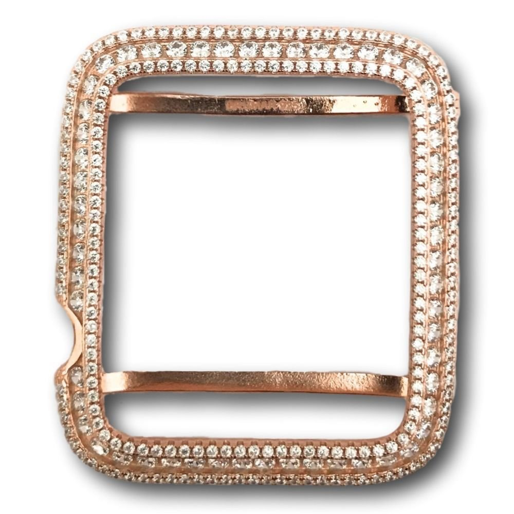 Series 2 Bling Apple Watch Bezel Rose Gold Plated Lab Diamonds 42mm 38 mm