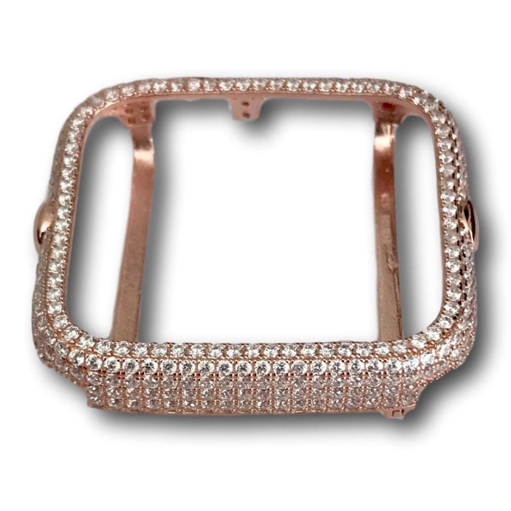 Series 2  Apple Watch Bezel Case 14K Rose Gold Plated Lab Diamonds 38mm 42 mm
