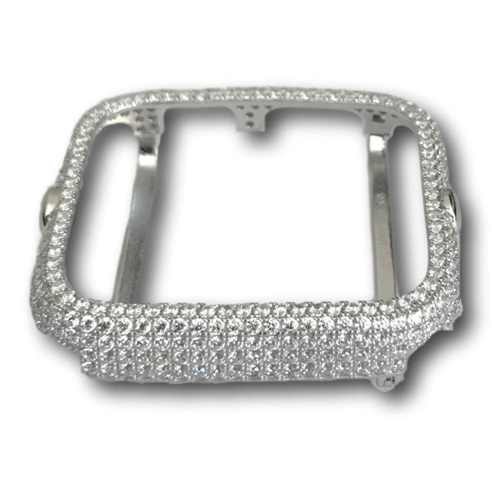 Apple Watch Bezel Case Rhodium Plated Silver Lab Diamonds 38mm 42mm Series 1