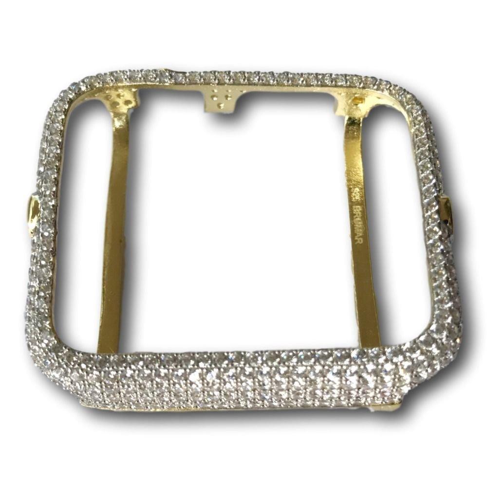 Apple Watch Bezel Case Yellow Gold Plated Lab Diamonds 38mm 42 mm  Series 2