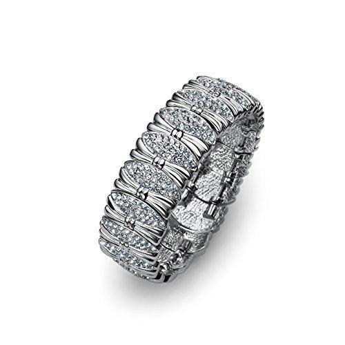 Silver Flexible Bangle Bracelet Clear Swarovski Elements Bows Oliver Weber 2859