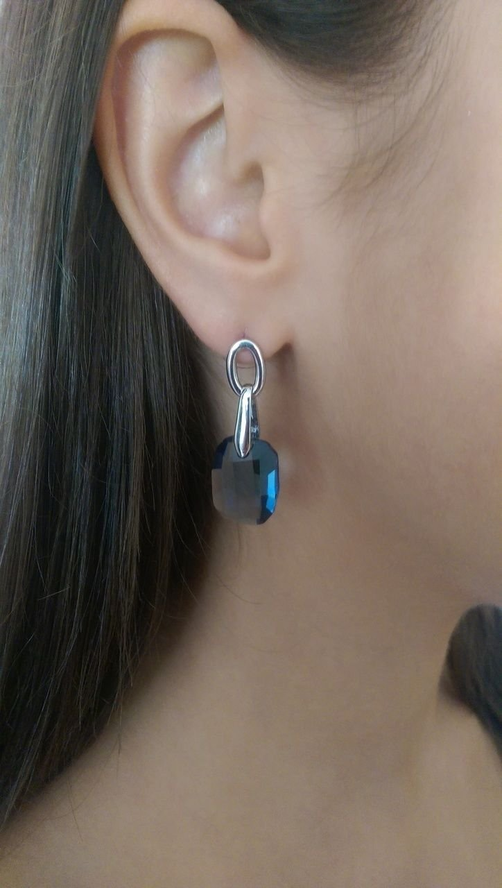 "Silver Blue Swarovski Elements Drop Earrings ""Touch"" Oliver Weber 22028"