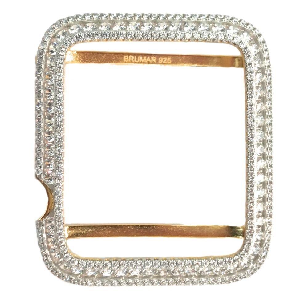 Apple Watch Bezel Case Yellow Gold Plated Silver 925 Lab Diamonds 38 mm series 1