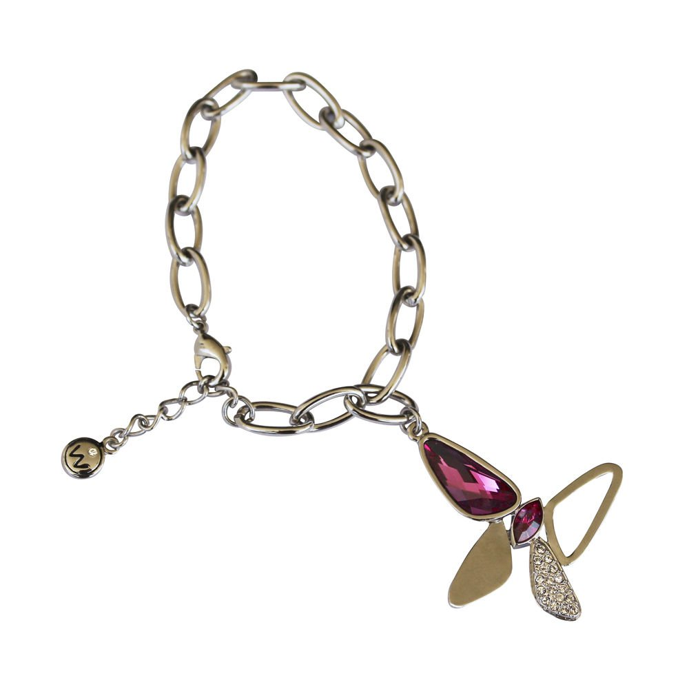 Silver Charm Bracelet Pink & Clear Swarovski Elements Butterfly Oliver Weber